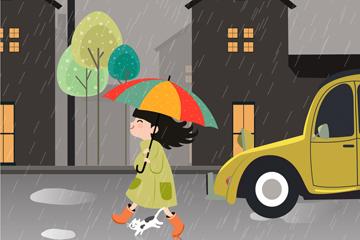 ��意雨中散步的女孩和�咪矢量�D