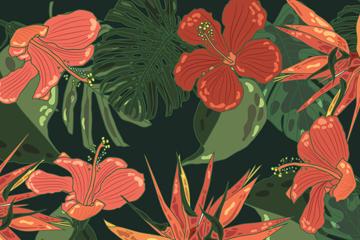 创意热带花卉无缝背景矢量图