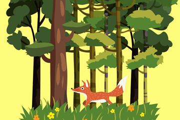 ��意森林狐��L景矢量素材