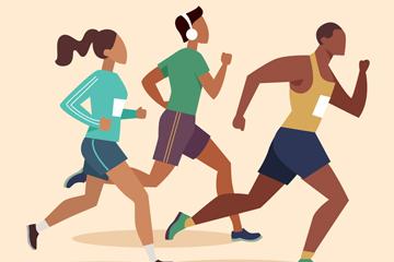 3个创意跑步健身人物矢量素材