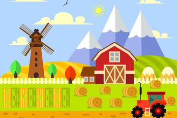 扁平化美丽农场风景矢量素材
