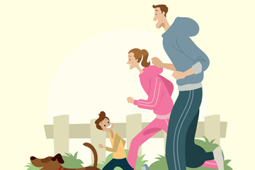创意跑步的三口之家矢量素材
