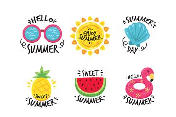 9款彩色夏季旅行�撕�矢量�D