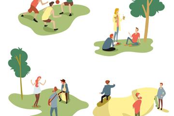 4组创意户外运动人物场景矢量图