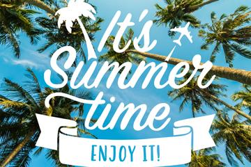 创意椰树夏季海报矢量素材