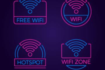 4款彩色无线网标志矢量素材
