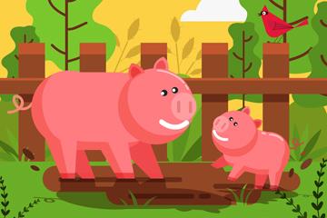 卡通农场猪矢量素材