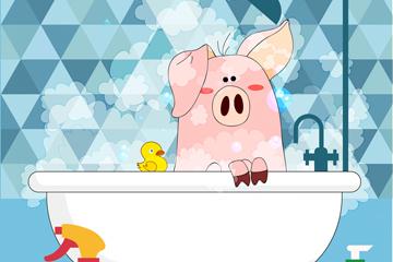 创意浴室洗澡的猪矢量素材