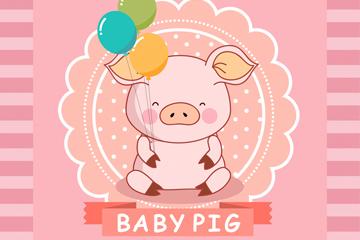 可爱拿气球的小猪矢量素材