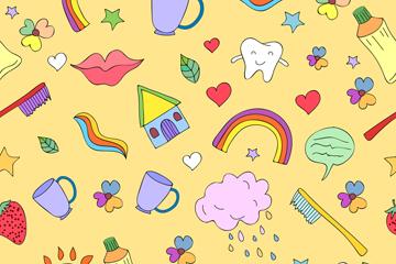 彩色牙刷和牙齿无缝背景矢量图