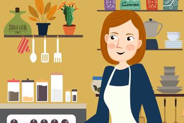 创意厨房中准备早餐的女子矢量图