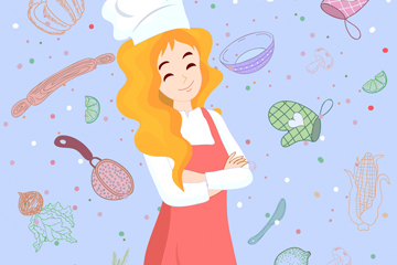 创意金发女厨师矢量素材