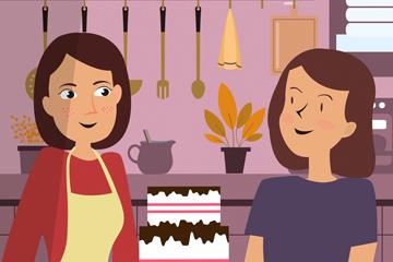 创意厨房做蛋糕的女子矢量素材