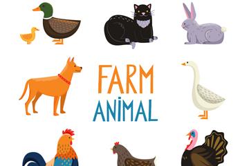 9款可爱农场动物矢量素材