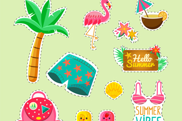 11款彩色夏季元素贴纸矢量图