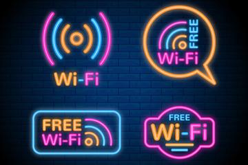 4款彩色无线网络标志矢量素材