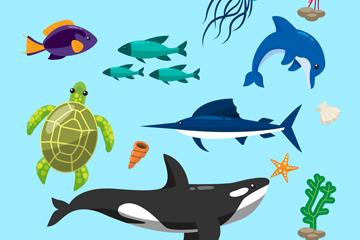 15款彩色海洋生物�O�矢量�D