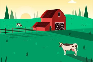 绿色农场风景设计矢量素材