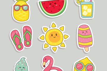 9款可爱夏季元素贴纸设计矢量图