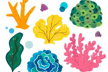 5款卡通珊瑚设计矢量素材