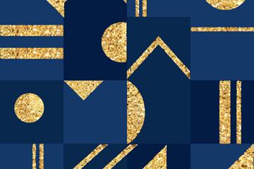 金色�D案正方形拼接背景矢量素材