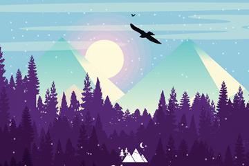 创意野外森林雪山风景矢量素材