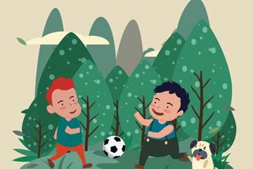 ��意郊外踢足球的2��男孩矢量�D