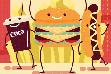 卡通快餐食物矢量素材