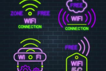 4款紫色无线网络标志矢量素材