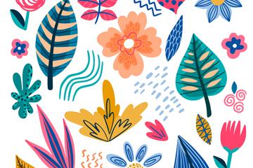 抽象花卉和�淙~�o�p背景矢量素材