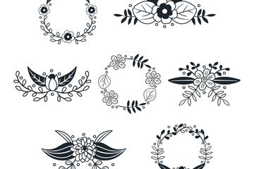7款创意花束和花环矢量素材