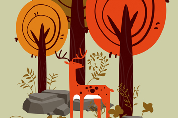 创意森林的鹿风景矢量素材