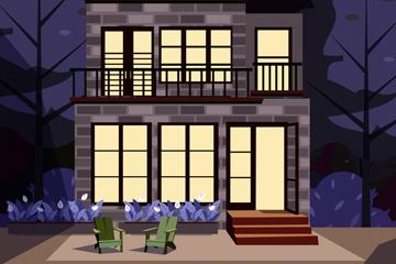 创意夜晚私人住宅矢量素材
