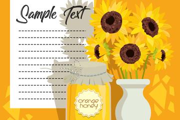 美��向日葵花和蜂蜜矢量素材