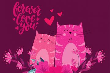 创意猫咪情侣和花卉矢量素材