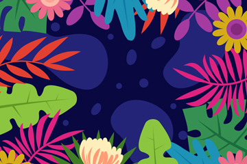 彩色花卉和树叶框架矢量素材