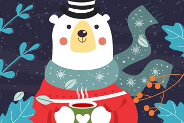 创意冬季喝咖啡的白熊矢量素材