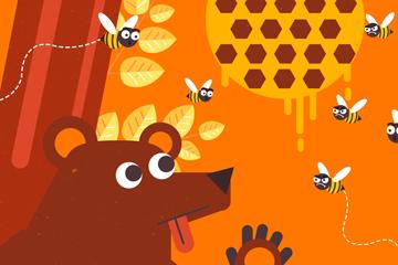 创意偷蜂蜜的棕熊矢量素材