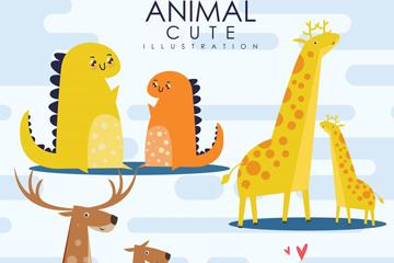 4对可爱动物设计矢量素材