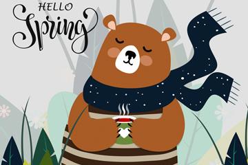 创意春季棕熊矢量素材