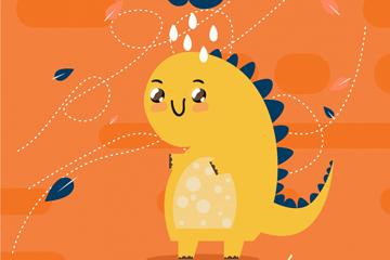 卡通彩虹和恐龙矢量素材