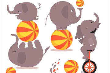 6款卡通大象设计矢量素材