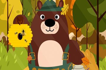 可爱提蜂窝的棕熊矢量素材