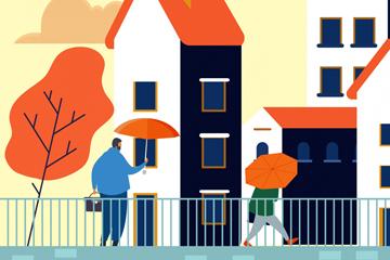 创意雨中房屋人物风景矢量图