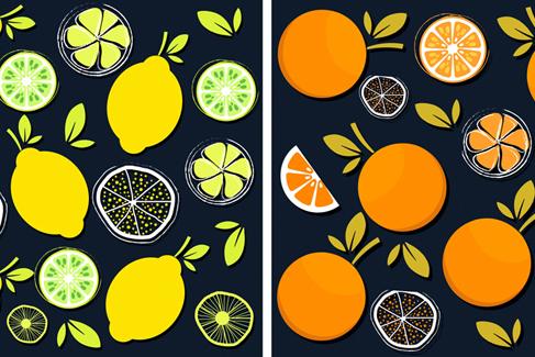 2款彩色水果�o�p背景矢量素材