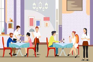 创意餐厅吃饭人物矢量素材
