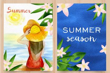 2款水彩�L夏季卡片矢量素材