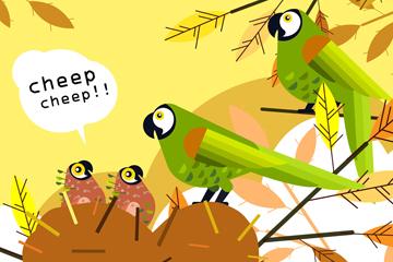 创意喂幼鸟的鹦鹉夫妇矢量图