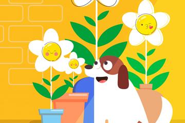 创意花盆和宠物狗矢量素材