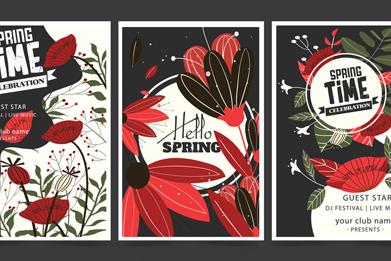 3款抽象春季花卉海�笫噶�D